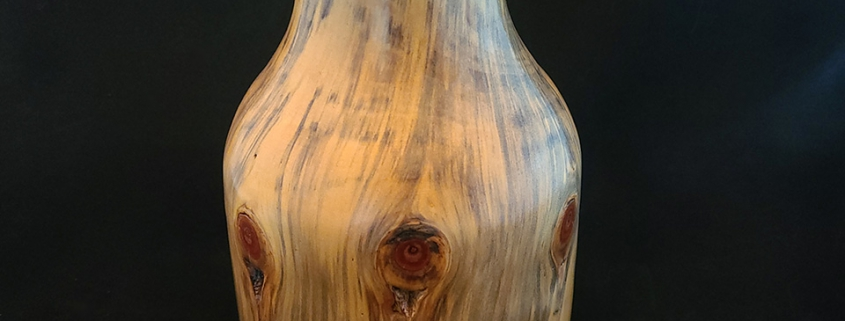 "Spalted norfolk island pine. 9.5"" high, 6"" diameter. Available"