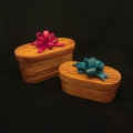 """Canary wood lidded boxes with dyed pine bows. Left with red bow; 7.75"""" long, 4"""" wide, 4"""" high. (measurement without bow included) Right with teal bow; 6.5"""" long, 3.25"""" wide, 2.5"""" high measurement without bow included). Available"""