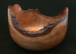 """Cherry natural edge; 9"""" diameter, 6"""" high. Available"""