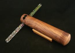 "Large wand kaleidoscope, walnut with maple eye cap. 10"" long, 2"" diameter. Available."