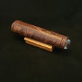 "Teleidoscope, figured walnut with spalted tamarind eye cap. 8.75"" long, 2"" diameter. Available."