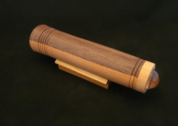 "Teleidoscope, laminated wenge and cherry with maple eye cap. 9.5"" long, 2"" diameter. Available."
