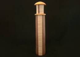 "Lighthouse kaleidoscope with rotating end; walnut and maple, 11.25"" tall, 2.25"" wide"